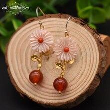 Серьги подвески glseevo естественные красные агатовый цветок