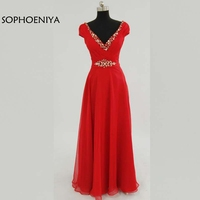 New Arrival Red Chiffon Long Party dresses 2018 Cap sleeve abendkleider Evening dress Plus size Beaded Belt abiye Evening gowns