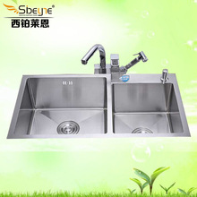 ITAS9901 304 stainless steel multifunction thickening Dish basin manual Water tank Double groove Kitchen sink Handmade 82cm*45cm 78 50 cm large stainless steel kitchen sink brushed thickening hand made single bowl water tank accessories complete