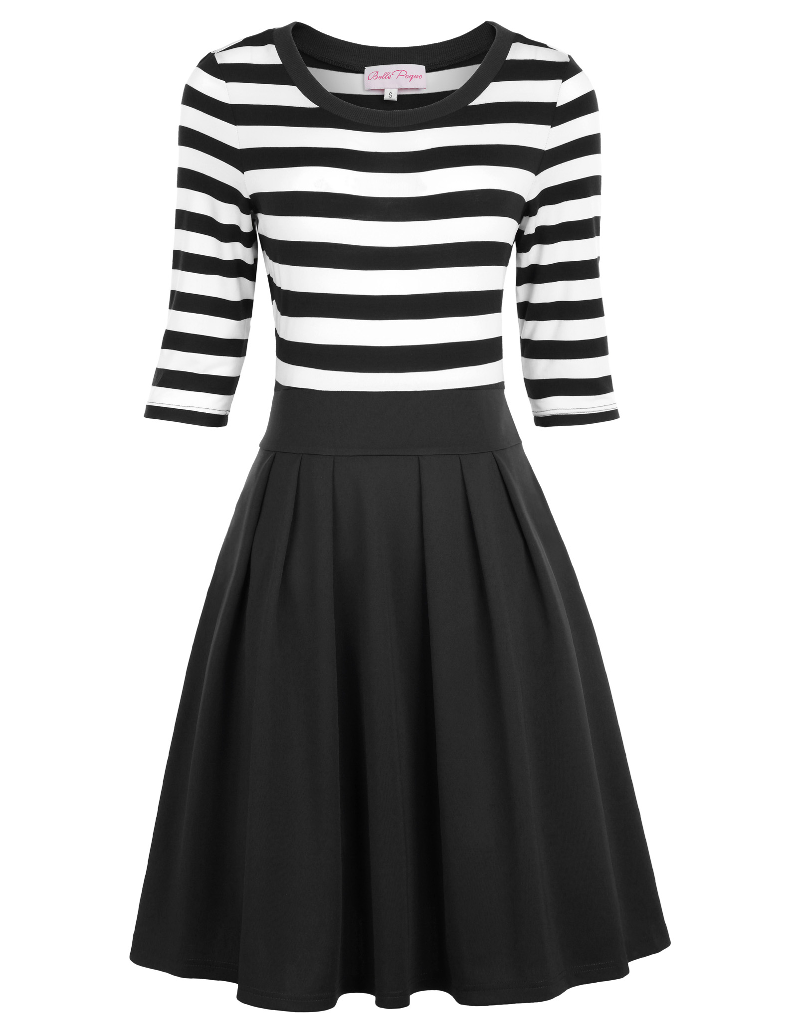 Belle Poque Retro Women Striped 3/4 Sleeve A line Dress Flared Party Dress