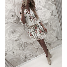 Women Dress 2019 Summer Sexy Floral Print Chiffon Long Sleeve Dress Boho Style Short Party Beach Dresses Vestidos de fiesta D30 2019 new sexy women dress summer off shoulder floral print chiffon dress boho style short party beach dresses vestidos de fiesta