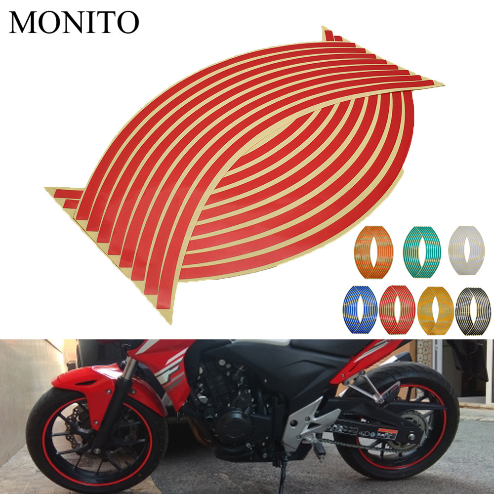 Motorcycle Wheel <font><b>Sticker</b></font> Motocross Reflective Decals Rim Tape Strip For <font><b>YAMAHA</b></font> <font><b>WR450F</b></font> WR250R WR250X WR450 SEROW 225 250 MT 07 image