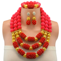 African Beads Jewelry Set Fashion Bridal Jewelry Sets Red Necklace Earrings Set Nigerian Wedding Jewellery Set For Women
