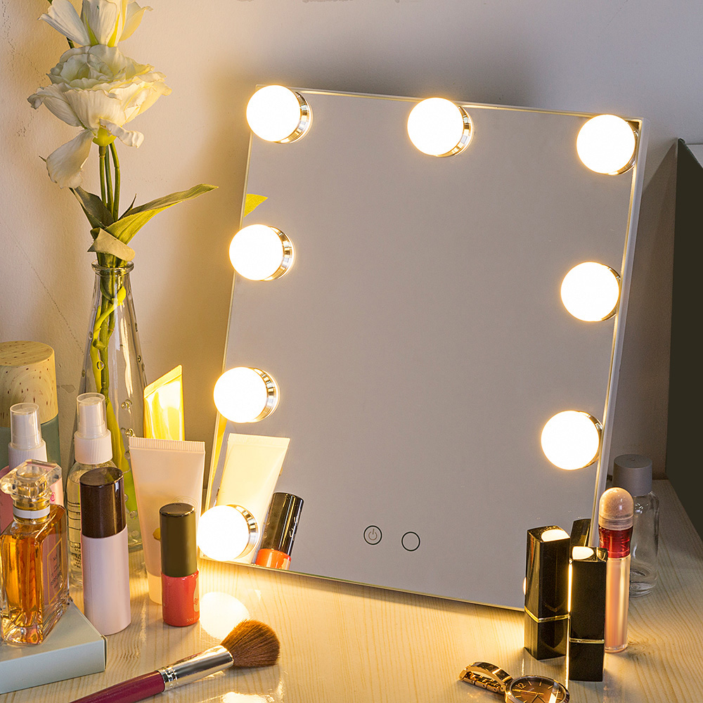 Led Bulb Vanity Lighted Hollywood Makeup Mirror With Dimmer Stage Kaca Rias Cermin 8 Lampu Baru 9 Leds Meja Dimmable Kontrol Sentuh Usb Daya Kosmetik Permukaan Terang