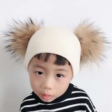 Winter Baby Hat With Two Fur Pompom Boy Girls Cashmere Wool Knitted Beanie Kids Caps Double Real Fur Pom Pom Hat For Children цена в Москве и Питере