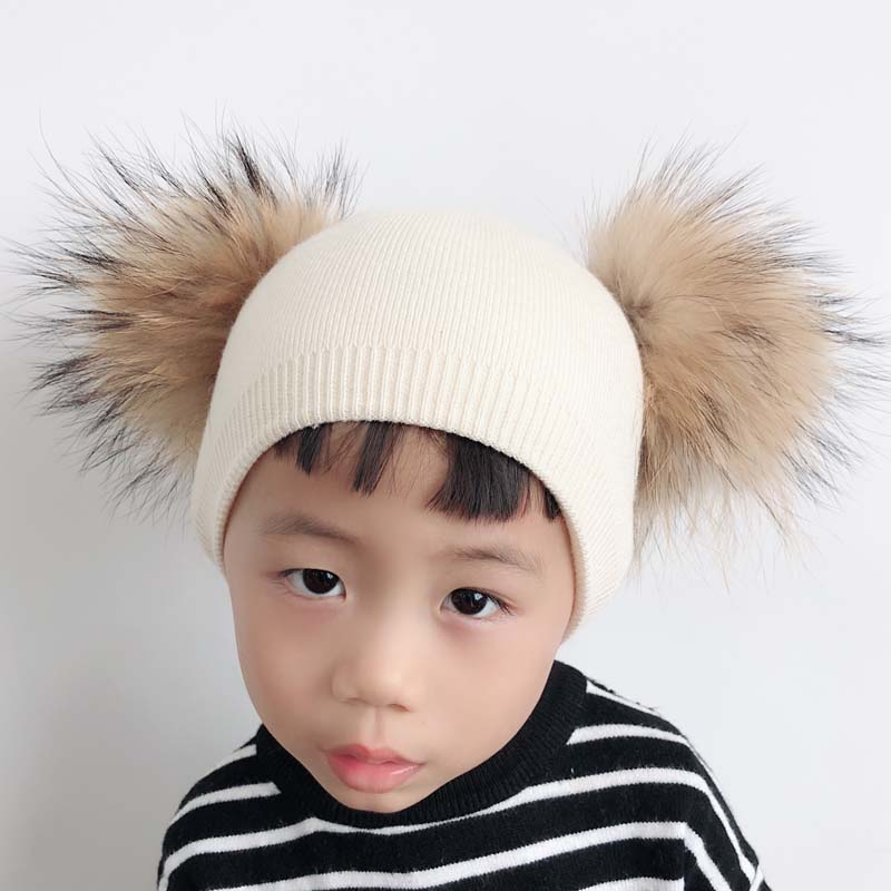 Winter Baby Wool Hat With Two Fur Pompom Boy Girl Natural