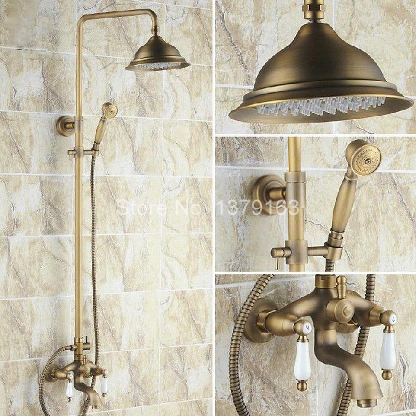 Bathroom Rain Shower Faucet Set Antique Brass Double Ceramics Lever Tub Mixer Tap + Rainfall Shower Head + Handshower ars161