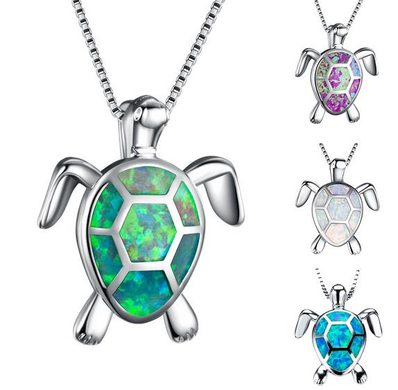 Fashion Lovely Zircon Turtle Tortoise Pendant Necklace Women Party Club Banquet Jewelry Stainless Steel Pendents