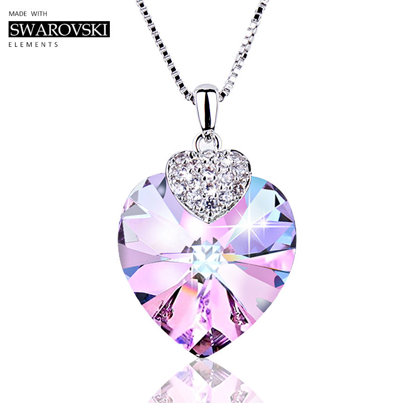 Swarovski Necklace for Women Heart Shape Amethyst Crystal Pendant Necklace Fine Jewelry Choker Necklace Gift for Lady Collares цены онлайн
