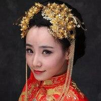 Uma coroa de noiva de chinês tradicional clássico de ouro de borboleta Hairpin cabelo de borla