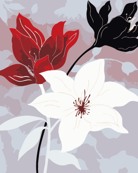 Flower poster red black white flowers print picture home decor wall flower poster red black white flowers print picture home decor wall painting abstract canvas for gift unframed free shipping in painting calligraphy from mightylinksfo Image collections