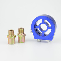 Universele Auto Olie temp en Oliedrukmeter Cooler Filter Cooler Sandwich Adapter Relocation kit Blauw gratis verzending