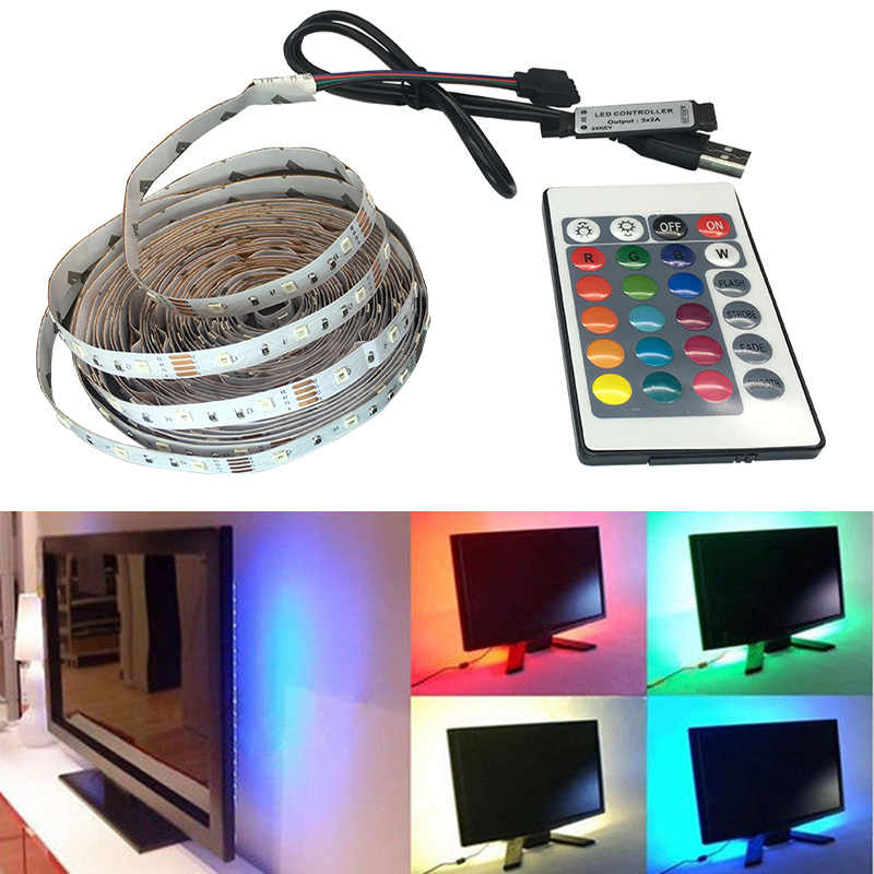 DC 5 V/6 V Lampu Strip LED TV USB Power SMD 3528 LED Flexible Light TV Pencahayaan Latar Belakang lampu Pita Perekat 50 CM 1 M 2 M 3 M 4 M 5 M