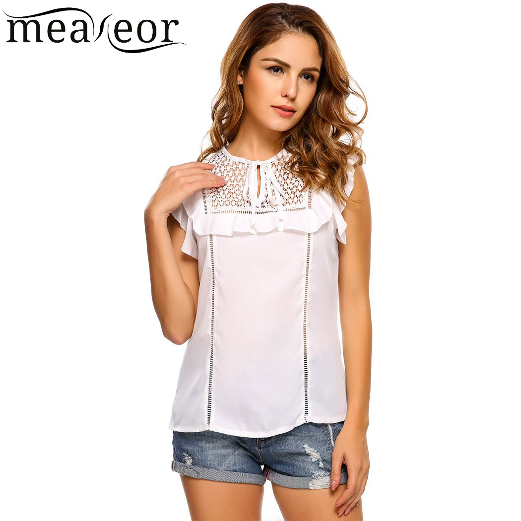 Meaneor Casual Hollow Out Lace Patchwork Summer Chiffon Vest Top Women Bow Tie Neck Ruffle Sleeve Solid Loose T-shirt