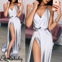Hirigin New Elegant Maxi Dresses Sexy High Split Women Evening Party Dress Strap Waist Long Bling Ladies Vestidos