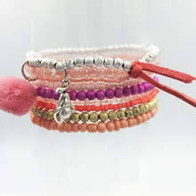 8pcs/set New Bohemian Beach style Candy Color Multilayer Beads Tassel Charm Bracelets Bangles For Women Gift Pulseras Mujer