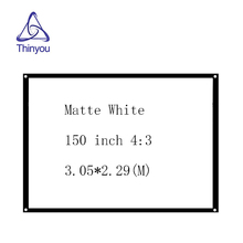 Thinyou Factory sales 150 inch 4:3 HD Projector Screen Front Finished Edge White Curtain Simple Projection with Eyelets
