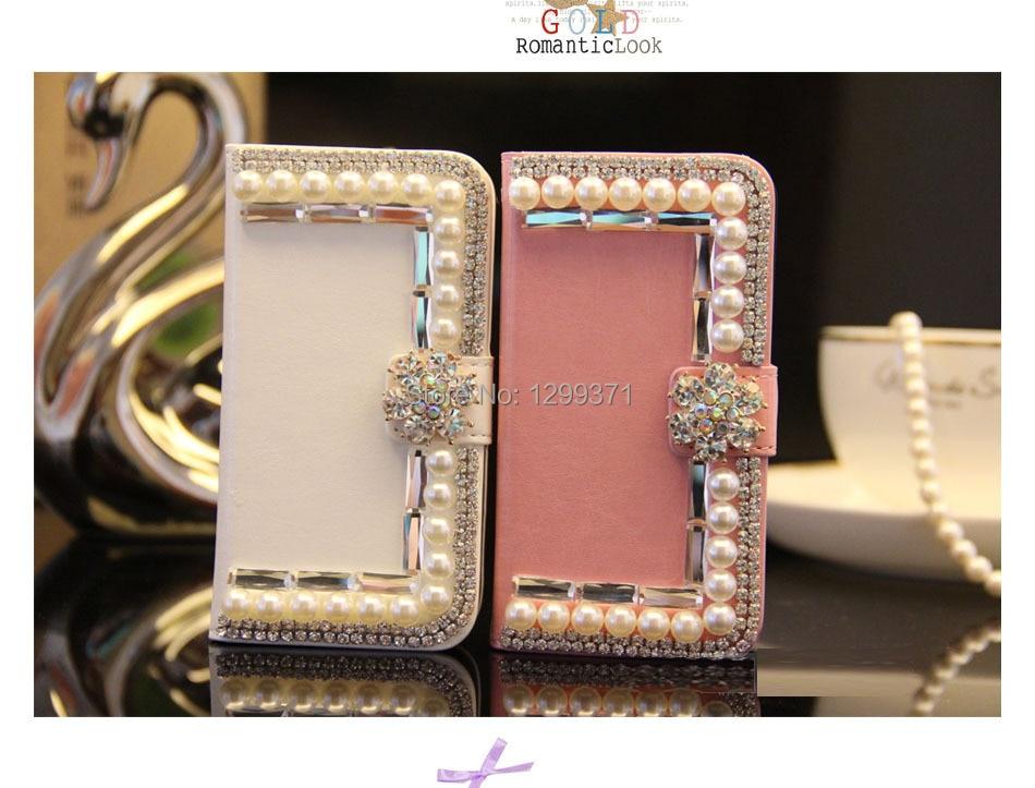 Dower Me Elegant Bling Flower Pearl Diamond Flip Wallet Leather Case For Samsung Glaxay S9 S8 S7 S6 Edge Plus S5 Note 8 5 4 3