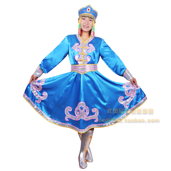 Ethnic garment Mongolia nationality clothing costumes Mongolia stage performance dance stage performance wear Free shipping Karachi