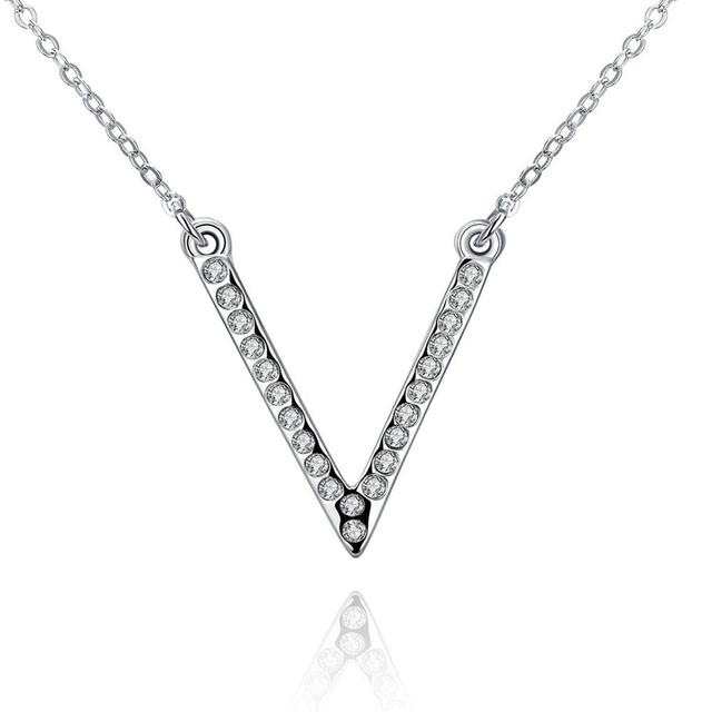 Simple style white gold v setting czech drill pendant necklace women simple style white gold v setting czech drill pendant necklace women girls body chain for party aloadofball Image collections