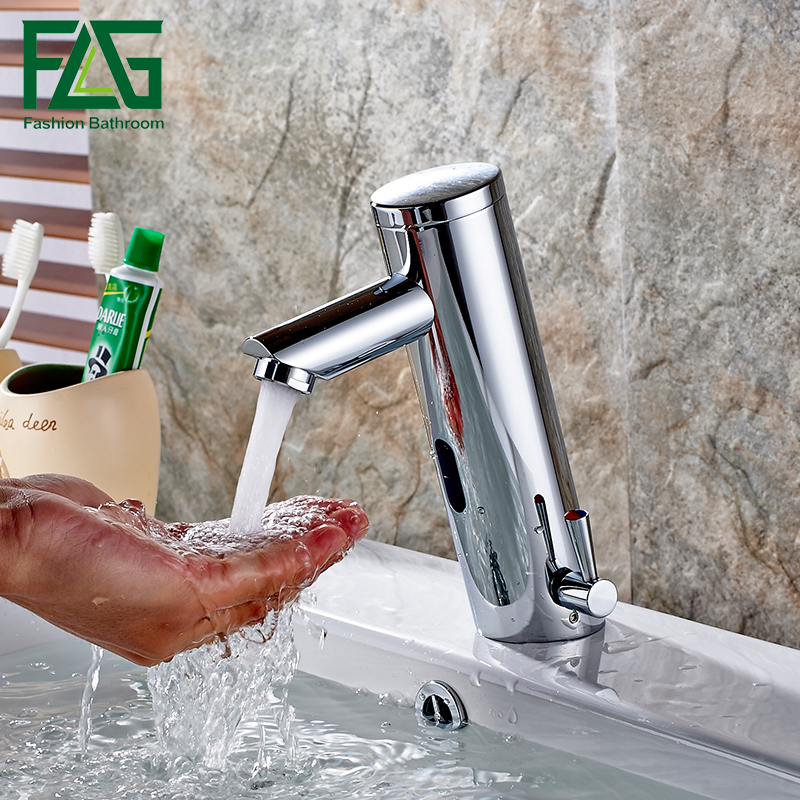 Motion Sensor Faucet Automatic Hand Touchless Tap Hot Cold Mixer Bathroom Sink Infrared Faucet Mixer new deck mounted cold automatic sensor hands faucet chromed free bathroom sink tap cold only sensor faucet chrome for bathroom