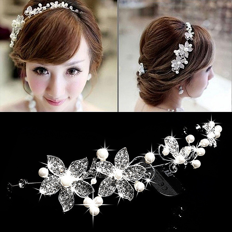 ACRDDK Rhinestone Pearl Flower Headband Tiara de Tiaras ქალთა გვირგვინი Headpiece საქორწილო თმის სამკაულები ქალთა საქორწილო აქსესუარები SL