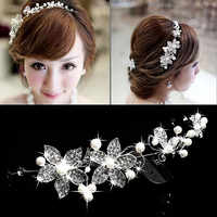 ACRDDK Strass Perle Blume Stirnband Tiara de Tiaras Frauen Crown Kopfschmuck Braut Haar Schmuck Frauen Hochzeit Zubehör SL