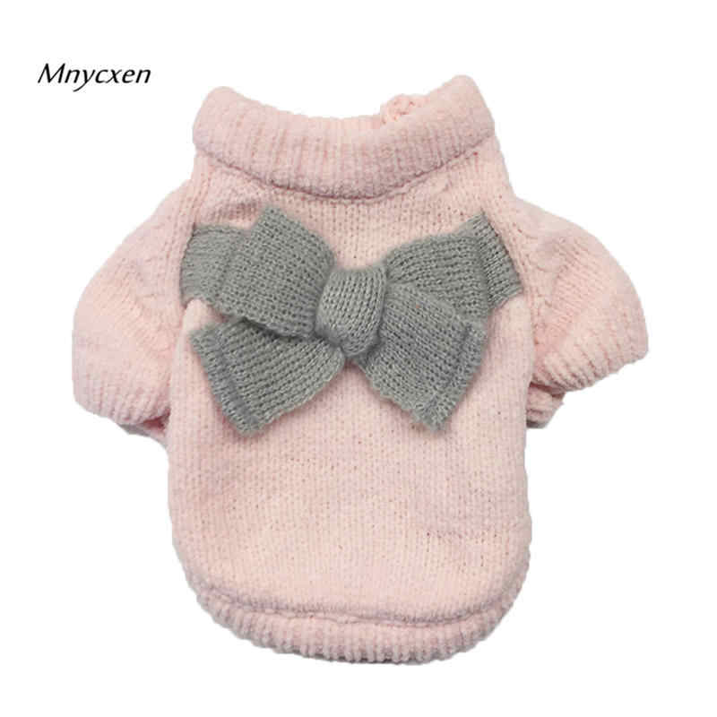 lovely pet dog sweater pet clothes with Bowknot pet sweater puppy clothes winter warm sweater red pink Assorted sizes supply @P
