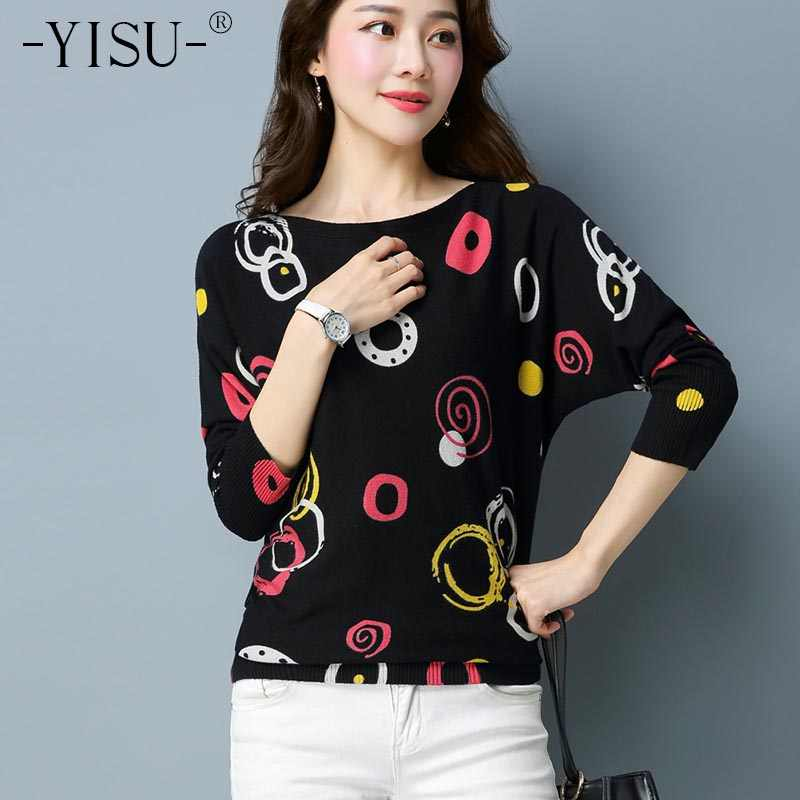 YISU Spring Winter Sweater Women Top Lovely Circle Print Knitted Sweater 2018 Casual Slim Fashion Pullover For Women Jumper