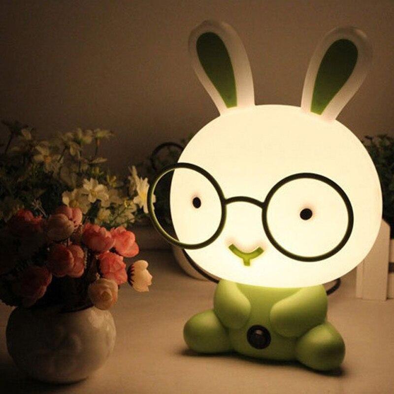 Cute Night Light Baby Room Wearing Glasses Rabbit Cartoon Night ...