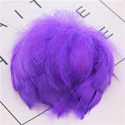 Натуральные перья лебедя 4-7 см 1-2 дюйма маленькие плавающие Шлейфы гусиное перо цветной шлейф для украшения рукоделия 100 шт - Цвет: DK Purple 100pcs