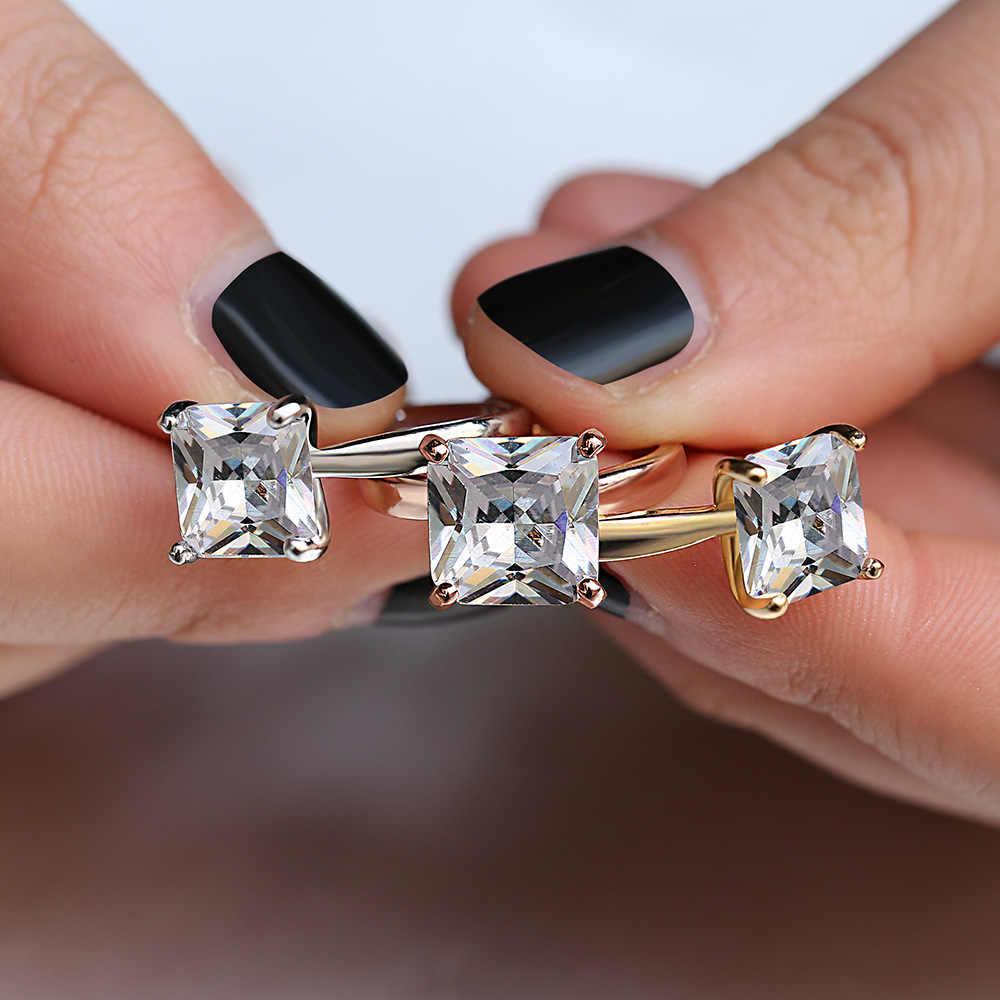 Huitan คลาสสิกหมั้นแหวนสแควร์ตัด CZ PRONG การตั้งค่าสี Eteanity งานแต่งงานครบรอบแหวน