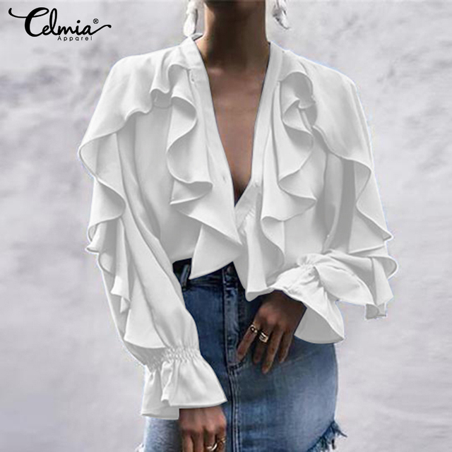 Women's Blouse Shirt Celmia Sexy V neck Long Sleeve Female Casual Ruffle Shirt Button Solid Street Blusas Plus Size OL Work Tops 3