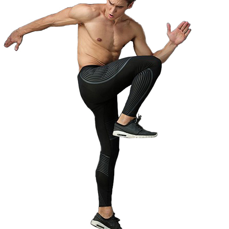 2018 Men Compression Pants Leggings Lycra Striped Streamer Elastic Joggers Sweat Pants Fitness Trousers Fitness Activewear MMA