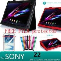 Sony tablet z 2 için toptan yüksek kalite case case lichi deri standı case sony tablet z2 + koruyucu ekran için ücretsiz gemi