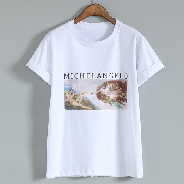 Michelangelo Cappella Sistina T shirt Harajuku Ulzzang Tumblr Women T-shirt Kawaii T shirt Femme Cotton Vintage Tops Tee