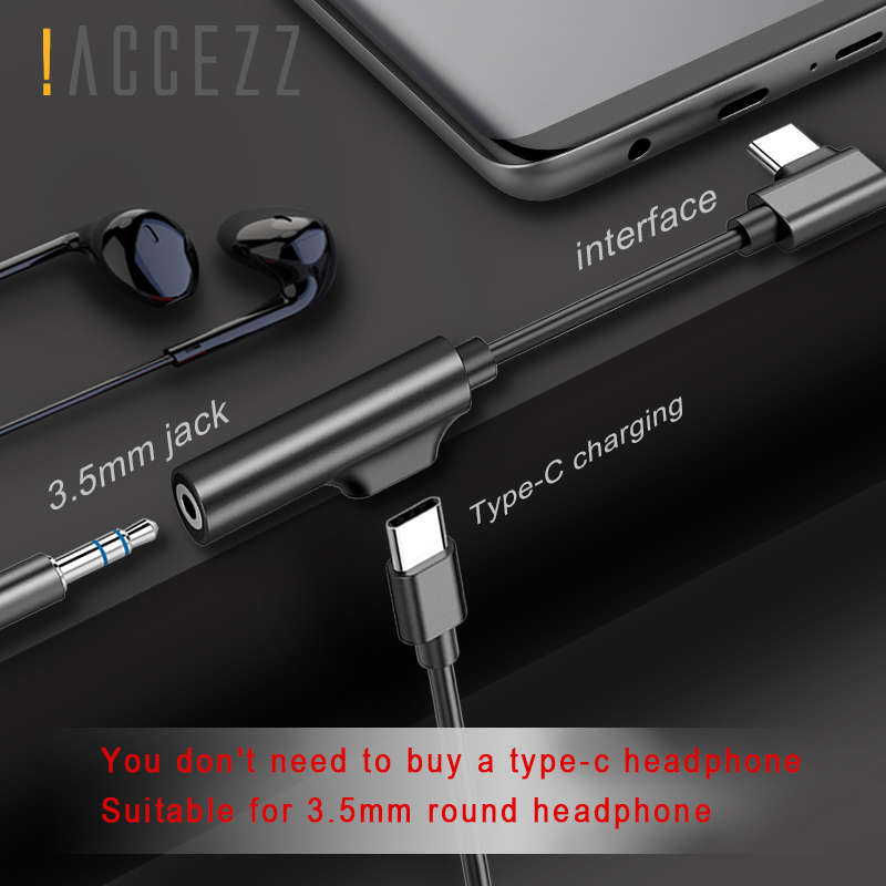 !ACCEZZ 2 In 1 Audio&Charging Hearphone Adapter Connerter Cable For Xiaomi Mi 6 USB Type C To 3.5mm Jack Aux Splitter Converter