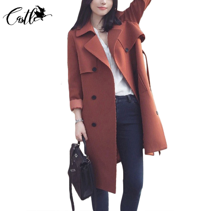 68acaf4c409 ... 2017 Women Trench Coat Casual Turn-down Collar Long Sleeve Spring  Autumn Long Coat Double Breasted Windbreaker Coat Plus Size2XL US   37.45   piece ...