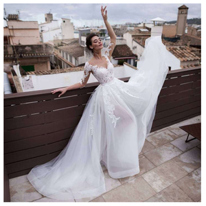 Image 1 - LORIE 2019 Beach Wedding Dress Scoop Appliqued Detachable Train Wedding Gown Half Sleeves Boho Short skirt Bride Dress