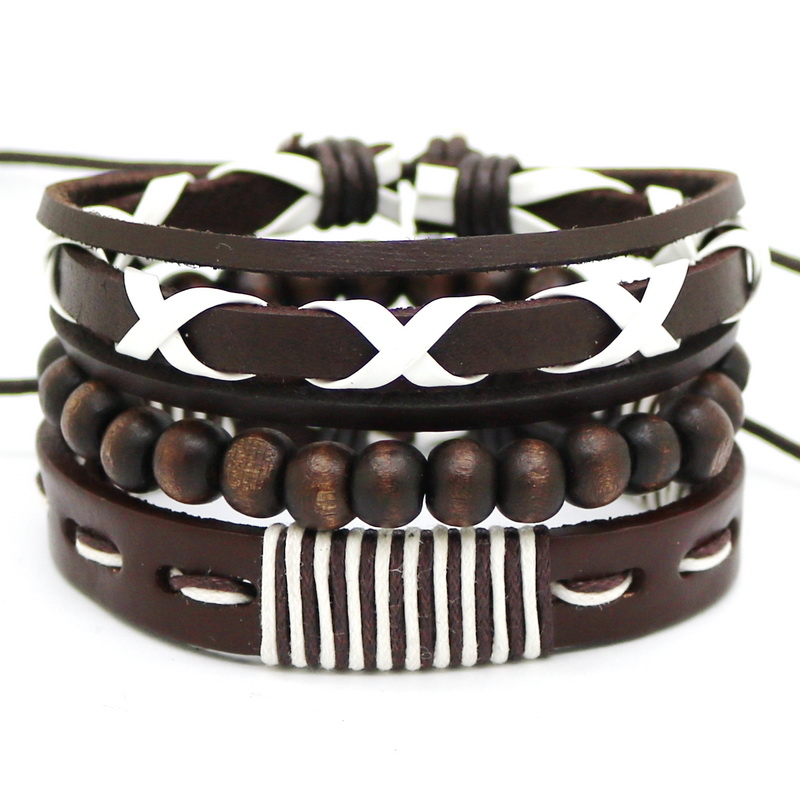 1 Set Punk Homme Multi Layer Weave Rope Cuff Braclet Beads Pu Leather Accessorie