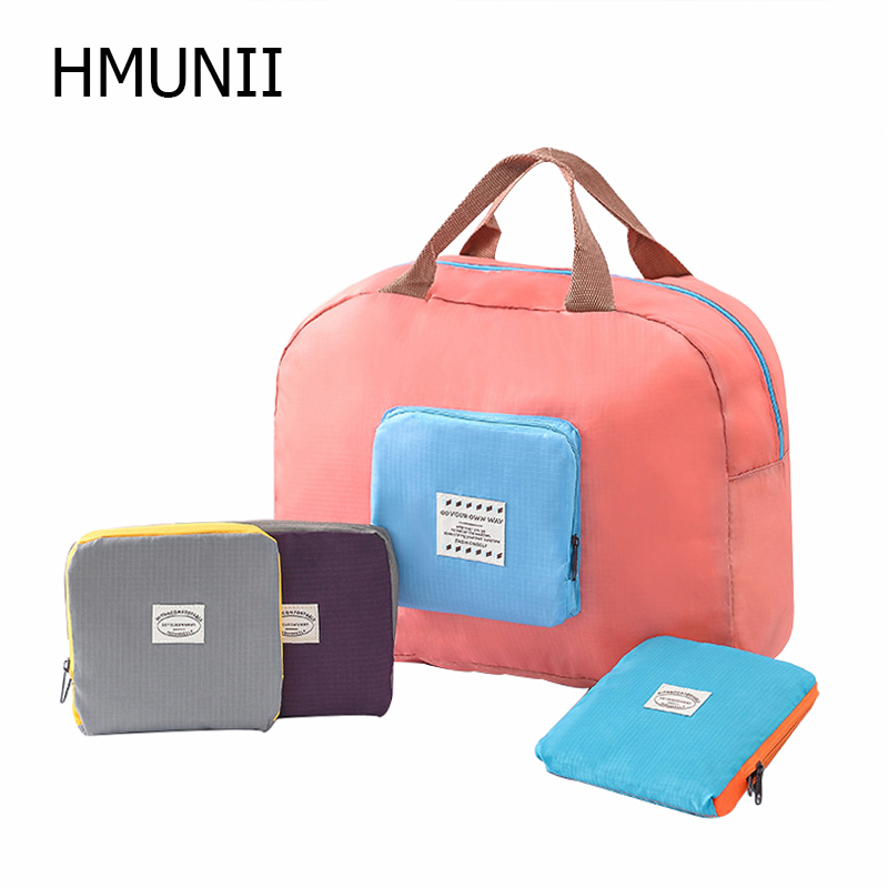 HMUNII INS NEW Packable Carry On Bag Travel Tote Sports Gym Duffle Weekender Waterproof For Women And Girls Travel Accessories