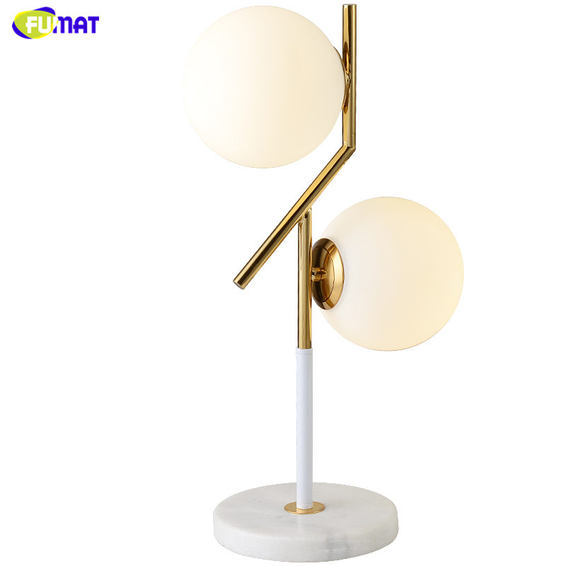 FUMAT Nordic Modern Table Lamps White Glass Balls Table Lamp Minimalism Frosted Mable base Table Light Living Room Bedside Lamp table
