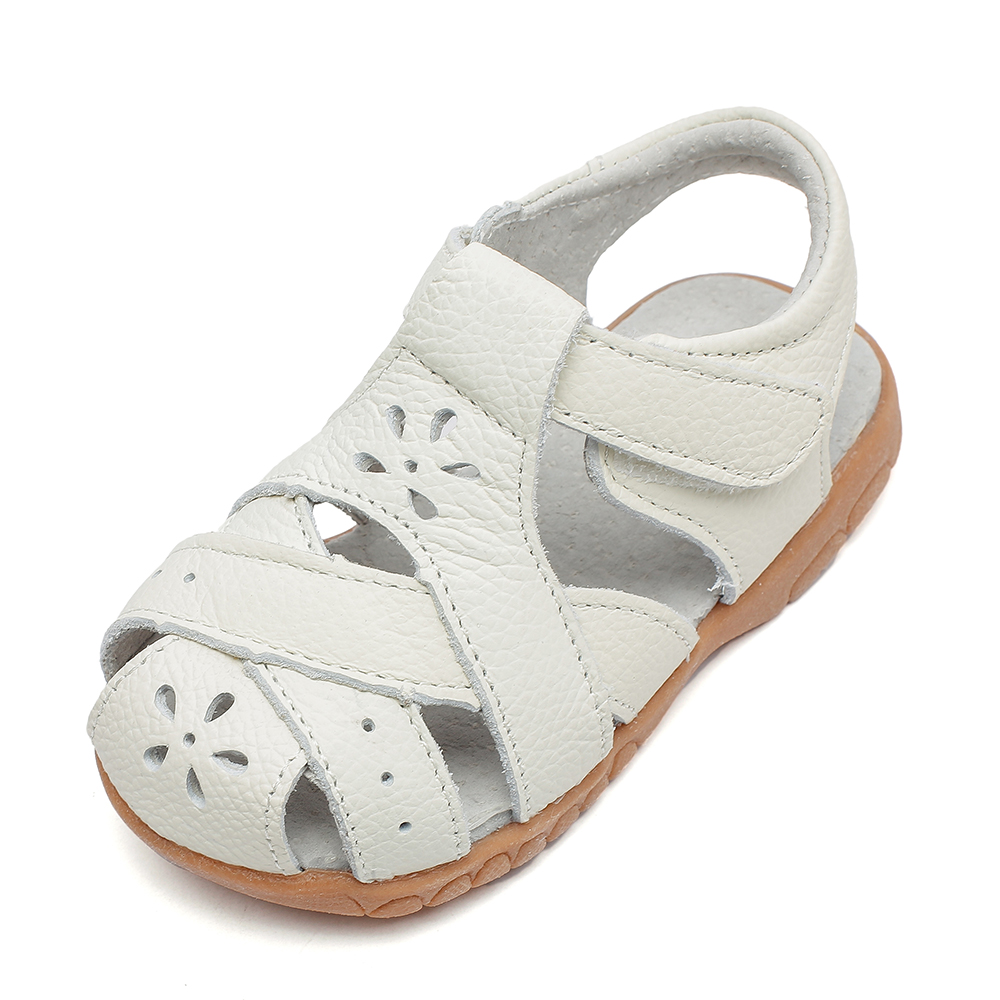 2019 New Genuine Leather Girls Sandals White Summer Walker Shoes With Flower Cutouts Antislip Sole Kids Toddler 12.3-18.3 Insole