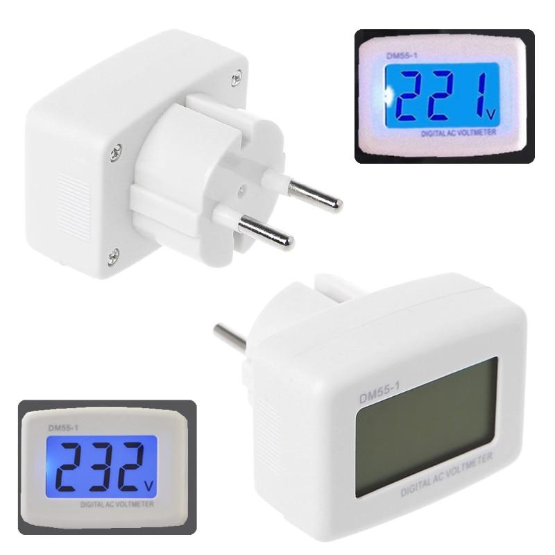 DM55-1 AC 85-260V LCD digitális voltmérő elektromos tollmérők kék fényű EU-csatlakozó S08 nagykereskedelem és DropShip