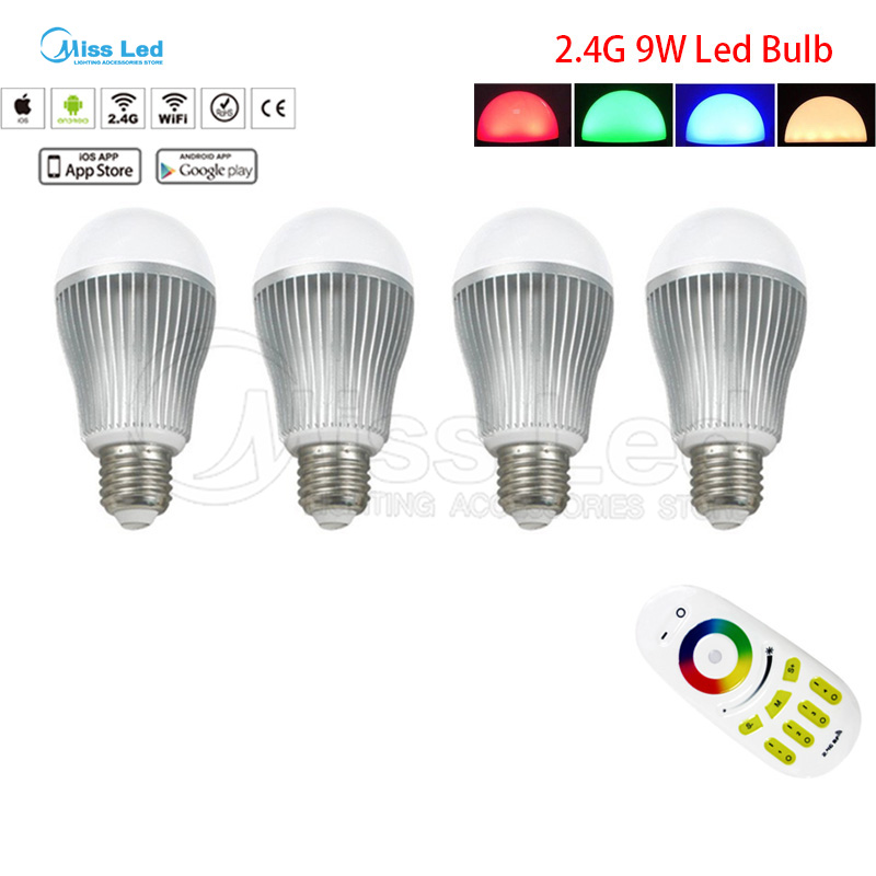4x 9W E27 RGB Warm/Cold White Wifi LED Bulb + 2.4G 4-zones Wireless RF Remote Touch groups control for led bulb light lamp new rf 315 e27 led lamp base bulb holder e27 screw timer switch remote control light lamp bulb holder for smart home