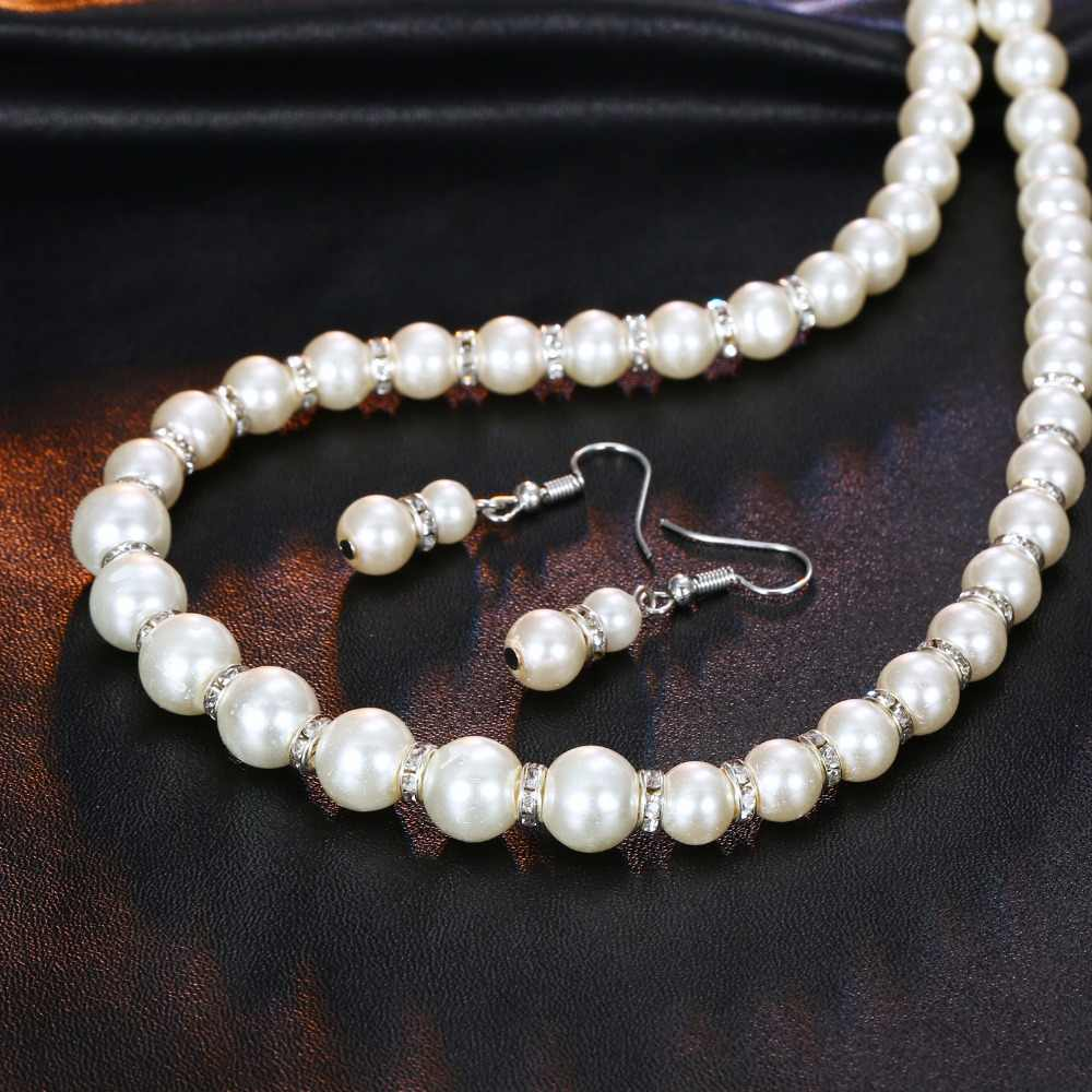 AILEND Charms Trendy Simulated Pearl Jewelry Sets for Women Crystal Ball Pendant Necklaces Earrings Bracelet Wedding Jewelry