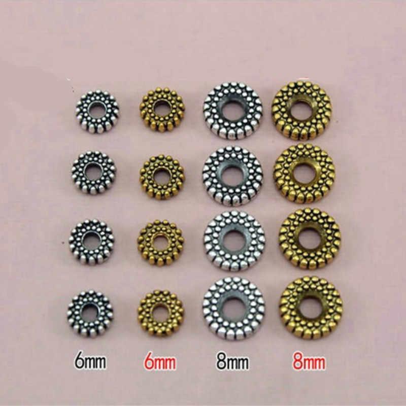 30 個 6 8 ミリメートルアンティークシルバー/ゴールドメッキplatビーズ金属亜鉛合金のためのルースビーズdiyジュエリーブレスレットメイキングHK124