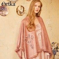 Di Artka Primavera & Estate New Bohemian Rosa Ricamo Floreale Nappe Pashmina WA10480C