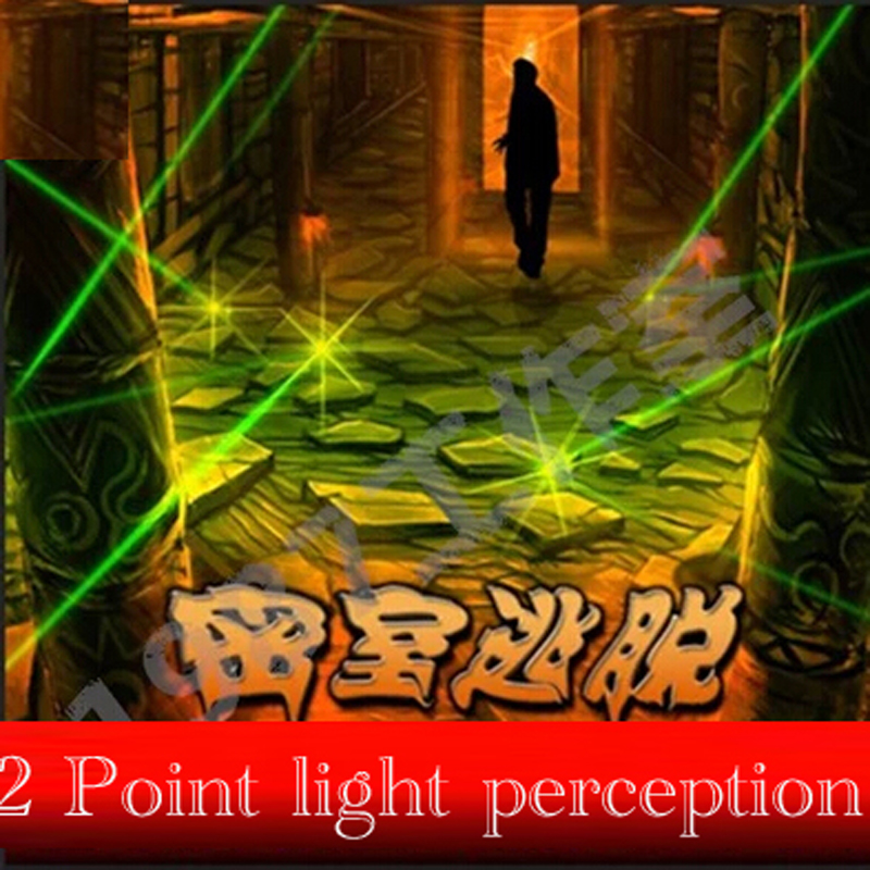 Reality Room Escape props 2 Point laser light perception Trigger unlocked  lights or putt with sound  games tools free shipping 50mw 532nm green laser module 12v dc input room escape maze props bar dance lamp