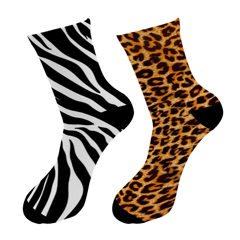 New 3D Printed Animal Fur Leopard Crew Socks Men Zebra Tiger Skin Long Socks Animal Giraffe Zebra Men's Dress Tube Socks